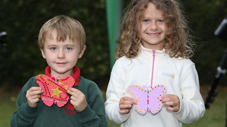 Rory, 5 and Jemima Tilbury, 7 with their butterflies at the Save Butterfly World event in Clarence P