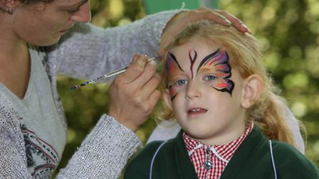 Minni Winnan, 5, has her face painted at the Save Butterfly world event in Clarence Park.