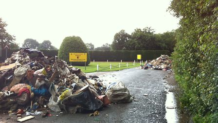 The piles of rubbish dumped outside the ground in Shenley