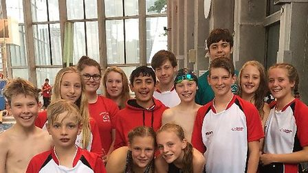 Some of the Huntingdon Piranhas swimmers who took part in the Coventry Sprint Meet.