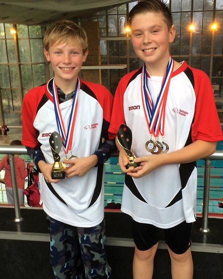 Huntingdon Piranhas medallists Toby Norman (left) and Connor Thacker.