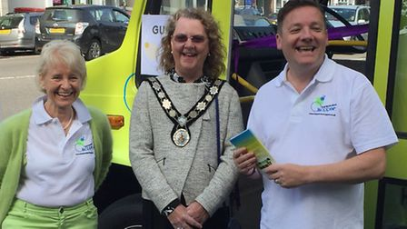 Harpenden Hopper initiative: From left, Cllr Teresa Heritage,Town Mayor Nicola Linacre and Andy Buch