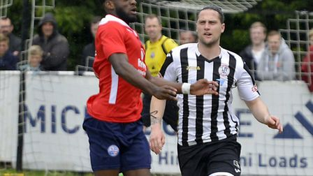 Danny Watson in action for St Ives Town in their Southern League Division One (Central) play-off fin