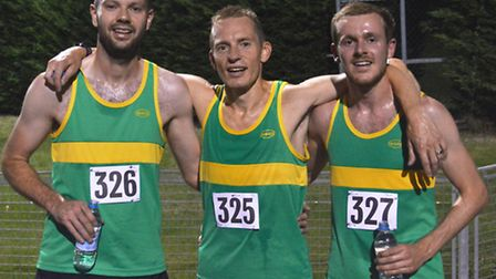 The top three finishers in the Hunts AC 10,000m Club Championship are, left to right, Ian Gallagher,