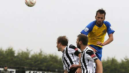 Sam Merson used his incredible leap to put St Albans City a goal up against Worthing. Picture: LEIGH