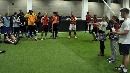 Elizabeth's Legacy of Hope Amputee Football match. Mrs Hope (right) is pictured talking about the ch