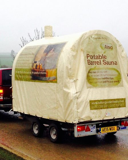 One of the saunas being transported.