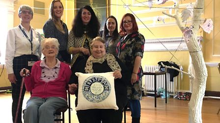 Artist Sarah Steenhorst with staff and users from the Cambridgeshire Care Network and the Cambridge