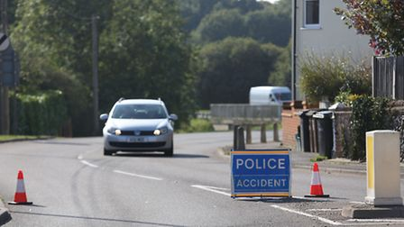 Coursers Road is closed off by the police after a mobile home blocks the road.