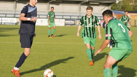 Ryan Hawkins, on the ball for St Neots Town in their win against Cirencester yesterday, is on trial