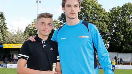 St Albans City's Tom Bender picks up September's player of the month award. Picture: LEIGH PAGE