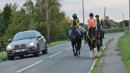 Horse riders also use the road.