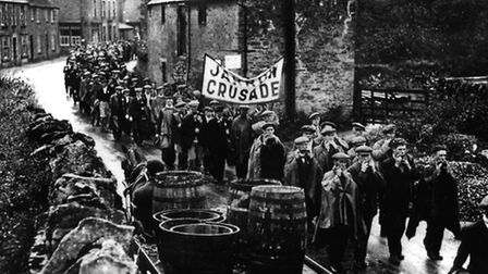 Jarrow Marchers on their way to London to present a petition to the Government in 1936. Photo PA