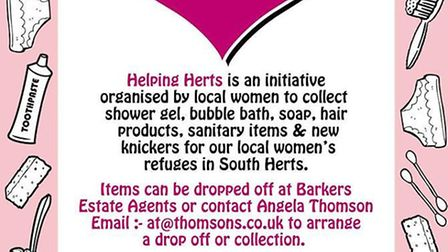 All items will be donated to St Albans and Hertsmere Women's Refuge.