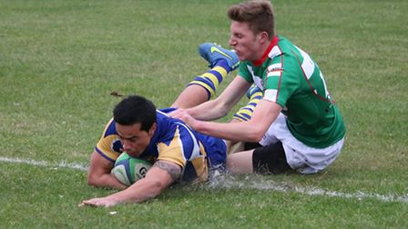 Nathan Symes goes over for a try. Picture: KEVIN LINES