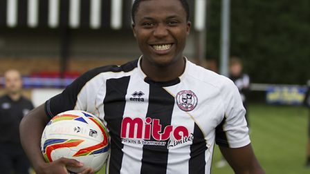 Dubi Ogbonna after hitting a hat-trick in an FA Cup tie during his previous spell as a St Ives Town