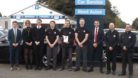 The team at Reed Autos in Foxton with their award.