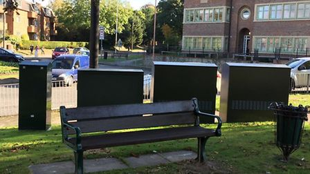 The bench that had four green telecom boxes installed in front of it has been turned round. Picture: