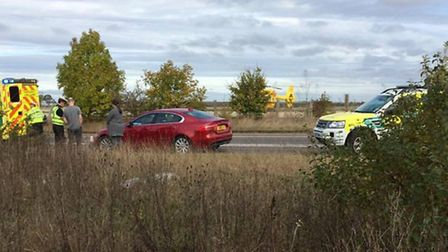 The scene where the car overturned today on the A505 in Royston. Picture: Henry Jones