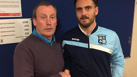 Godmanchester Rovers chairman Karly Hurst (left) with new manager Chris Hyem.