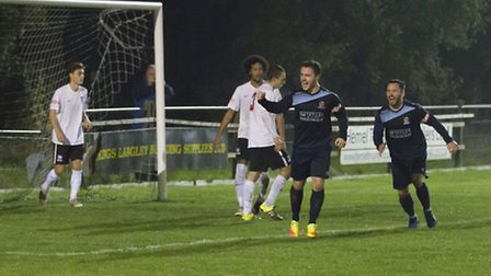 Sam Mulready celebrates scoring for St Neots Town in their 3-2 win at Kings Langley. Picture: CLAIRE