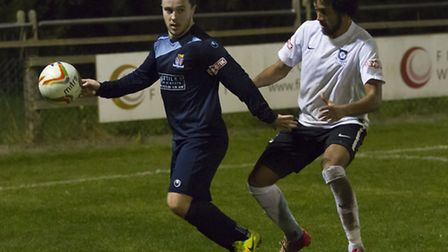 Sam Mulready in action for St Neots Town in their 3-2 win at Kings Langley. Picture: CLAIRE HOWES