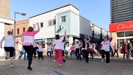 Flash mob in aid of Breast Cancer Awareness Month took to the streets of Huntingdon