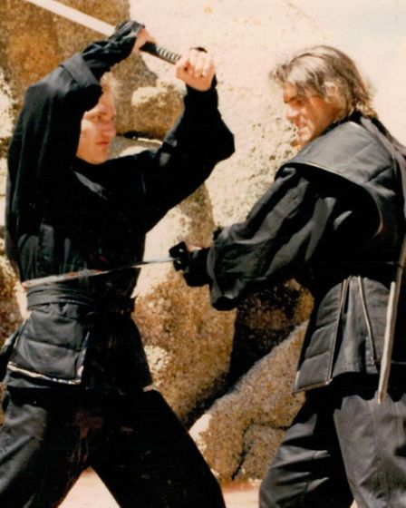 Mark Fincham, right, was a stuntman in movies including 'American Ninja 2: The Confrontation'