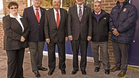 Pictured are, from the left, Marina Howlett (Hunts FA council member), Lawrie Cooke (Hunts FA direct