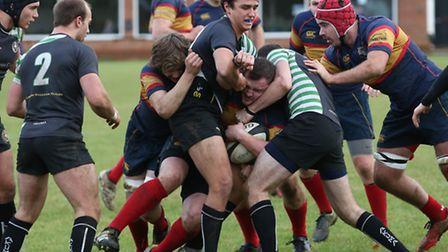 Jonathan Tilley and Teddy Gough try to get a Tabard maul moving forward. Picture: DANNY LOO
