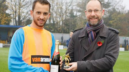 Sam Merson picks up the player of the month award for October. Picture: LEIGH PAGE