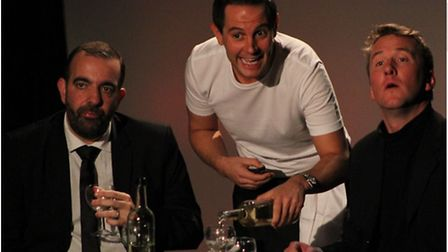 L-R Adam Nichols as Robert, David Fabbro as the waiter and Ed White as Jerry