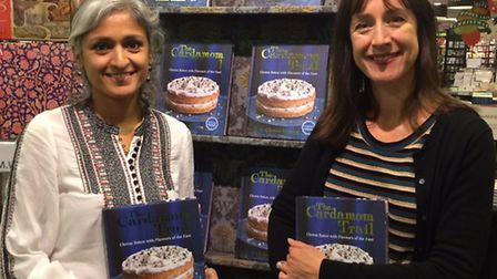 Chetna Makan with Becky Alexander in Waterstones St Albans