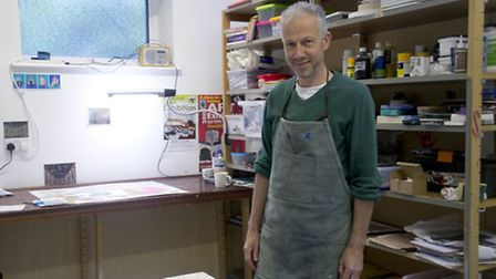 St Albans artist Dave Nelson in his Digswell studio