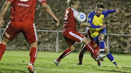 Louie Theophanous scores a stunner to put St Albans City 1-0 up. Picture: LEIGH PAGE