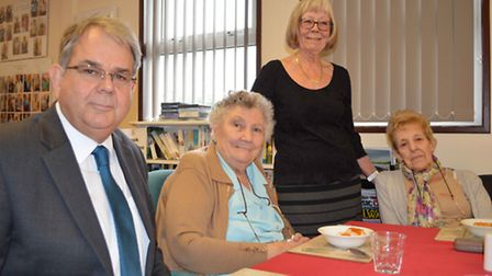 From left; Cambridgeshire County Councillor Steve Criswell meets Leah Adams, Pat Ayres (volunteer),
