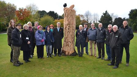 The unveiling of the new Royston Priory Memorial Gardens' sculpture.