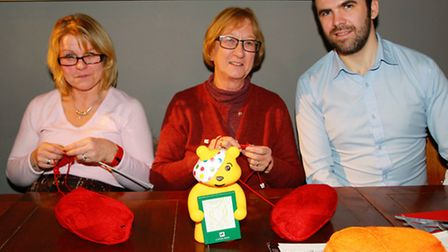 Christine Baker and Tracey Ratcliffe with Jolly Postie assistant manager, Daniel Browne. Picture: Cl