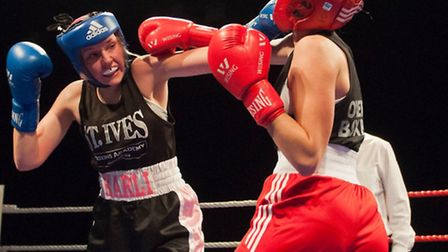 St Ives boxer Harli Whitwell on her way to victory against England international Ruby Hanson at a sh