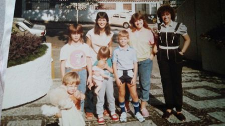 The Davies siblings - including Alun, in shorts - pictured in Rio with their mum and two family frie