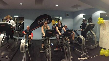 The group taking part in the 24-hour sports challenge at Fighting Fit Gym in Royston.