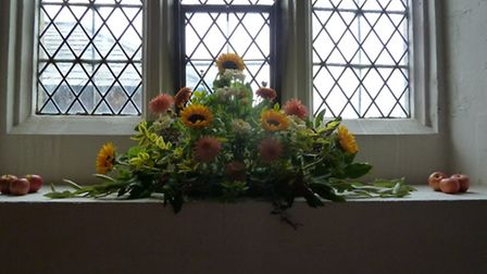 The church flowers were all sourced locally