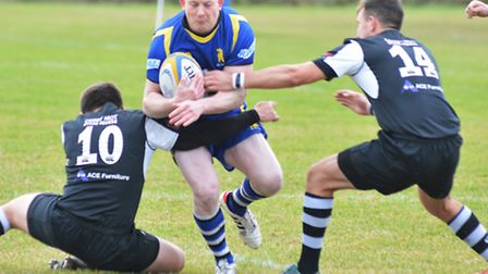 Mickey Drake in action during St Ives' defeat to Stewart & Lloyds last Saturday.