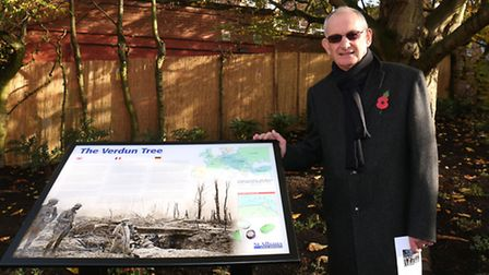 Graphic designer Roy Bellamy who designed the new plaque for the 100 year commemoration of the Battl