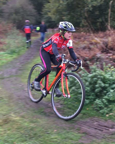 Orla Kenna in action at the latest round of the Eastern Region Cyclocross League.