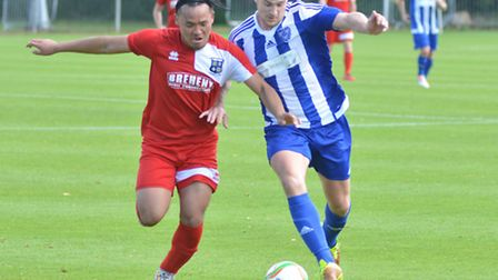 Christian Le (left) hit Godmanchester Rovers' clincher at Hadleigh.