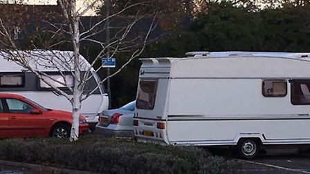 Travellers parked at the Nuffield St Albans Fitness & Wellbeing Gym