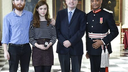 Anne Rider's family accept the award from HM Lord-Lieutenant of Greater London Mr Kenneth Olisa OBE