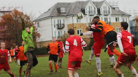 Brookmans Park put pressure on the Garston Panthers goal