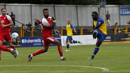 Junior Morias fires a shot towards goal during Saints' 3-1 win over Whitehawk in August. Picture: LE